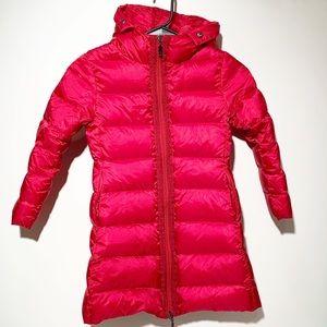 Moncler dark pink long little girls puffer coat